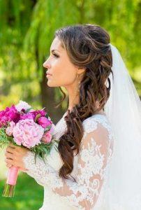 coiffure mariage voile mi hauteur mi descente